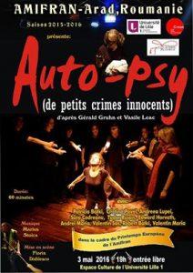 """Affiche de la pièce de Théâtre """"Auto-Psy"""" présentée par la troupe roumaine AMIFRAN"""